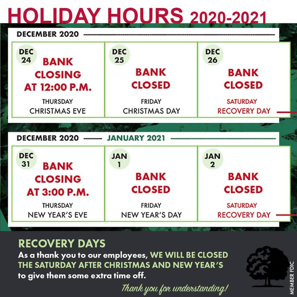 2020-2021 holiday hours