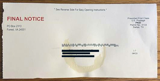 Final Notice Scam Mail