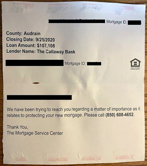 Mortgage Scam Mail